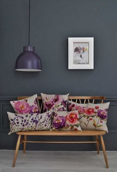More #floral inspiration from #Bluebellgray with a stunning display of bright cushions
