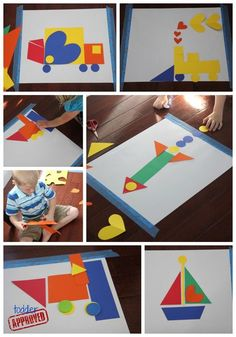 Shapes and transportation activities for preschool book Away We Go! by Chieu Anh Urban Love how you can use shapes to make things. I think this would be a great classroom activity! car building with shapes Preschool Books, Preschool Learning, Classroom Activities, Toddler Activities, Preschool Activities, Shape Activities, Train Crafts Preschool, Math Crafts, Book Crafts