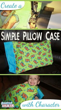 Sewing Pillows Create a Simple Pillowcase with Character in 4 Steps Easy Sewing Projects, Sewing Hacks, Sewing Tutorials, Sewing Crafts, Sewing Tips, Sewing Lessons, Quilt Tutorials, Sewing For Kids, Diy For Kids