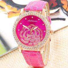 Cheap watch buckle, Buy Quality watch band directly from China watch set Suppliers: 5 Colors For Choose PU Strap Rose Flower Watch Women Rhinestone Watches For Women Dress Wa