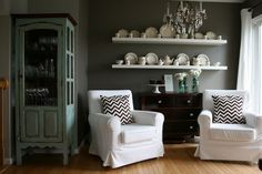 jennylund chair Suzie: Our Life with Miley - Gorgeous dining room with gray walls paint color, Ikea Lack ...