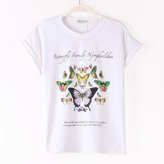 2014 весной корейских женщин Студенты просто хлопка с коротким рукавом футболки футболки Тонкий Бабочка печати прилив - Taobao
