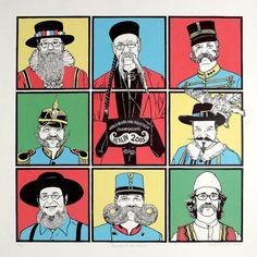 Beards of the World - Linocut and screenprint. £150.00, via Etsy.