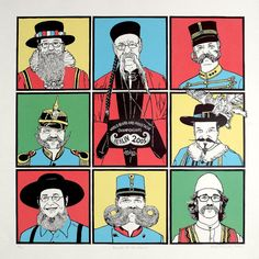 Beards of the World  Linocut and screenprint by linocutboy on Etsy, £150.00