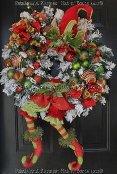 "petals and plumes christmas wreaths | -Christmas Wreath-""Limey The Elf""-Door Decoration"" Petals & Plumes ..."