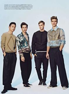 "Grayson Vaughan, Sung Jin Park, James Smith & Matt McGlone in ""Livin' In the by Shaun Martas for Details Magazine March 2013 (Styling by: Paul Stura) Eighties Style, Mens Fashion Wear, Men's Fashion, Details Magazine, James Smith, Campus Style, New Politics, Perfect Wardrobe, Fashion Today"