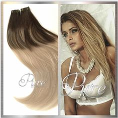 2/24/2 Dark Rooted Short Root Fade Out With Beautiful Foils Cascading Into A Beautiful Soft Cream Blonde. This stunning combination of superbly blended, ombre is a look exclusive to Pure Tape Hair Extensions and custom-created by our very own talented technicians.  #ombrehair #ombrehairetensions #balayagehairextensions #balayage Dark Brown Balayage, Best Ombre Hair, Ponytail Extension, Fresh Hair, Tape In Hair Extensions, Light Blonde, 100 Human Hair, Most Beautiful, Pure Products