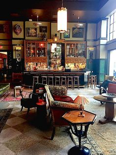 hotel bar 24 hours in New Orleans Ace Hotel lobby. Great list and pics. Ace Hotel, Hotel Lobby, Hotel Safe, New Orleans Hotels, New Orleans Bars, New Orleans Decor, Orleans Restaurants, Café Bar, Bar Interior