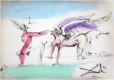 Dali  Title: Le Seigneur et le Dragon Aile Medium: India Ink and Watercolor