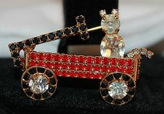 Dorothy Bauer Cat in Wagon Rhinestone Brooch Articulated Gold Tone vintage
