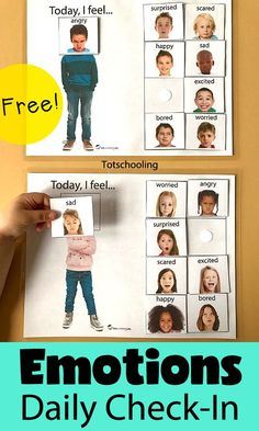 Today, I Feel Daily Emotions Activity is part of Emotions activities - FREE Emotions activity for learning about feelings and facial expressions Daily emotion checkin activity, great for preschoolers and special needs children Social Emotional Activities, Emotions Activities, Social Emotional Development, Preschool Activities, Preschool Kindergarten, Themes For Preschool, Activities For Children, Autism Preschool, Free Preschool