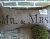 Mr. & Mrs. Burlap Pillow - with Est. Date  on etsy $32
