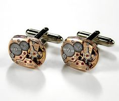 Steampunk Cufflinks  Luxury OMEGA Rose Gold Watch by edmdesigns, $295.00