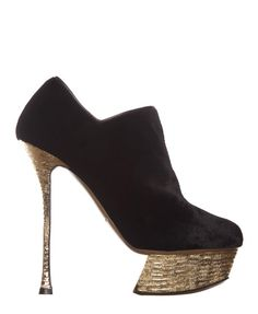 Nicholas Kirkwood - black velvet and hammered gold leather ankle boots. Autumn / Winter 2012 <3