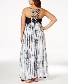 Plus Size Lattice-Back Tie-Dye Cover-Up Dress