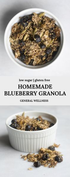 This Blueberry Granola recipe is low in sugar but high in fiber and taste. It uses coconut oil, honey, and my favorite freeze dried blueberries that form a delicious granola recipe for a healthy breakfast Healthy Breakfast Recipes, Healthy Snacks, Snack Recipes, Dessert Recipes, Recipes Dinner, Vegan Recipes, Easy Granola Recipe, Low Sugar Desserts, Dried Blueberries