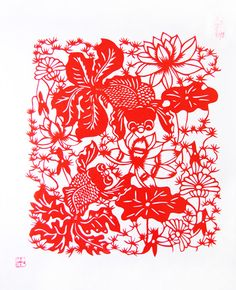 Chinese Traditional Handmade Paper Cutting - Golden Fish and Lotus Flower  $28