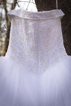 Closeup of the white Cinderella dress.