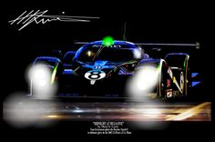 """""""MIDNIGHT AT MULSANNE"""" Bentley's Speed 8 takes Le Mans. Original Art by MLewis"""