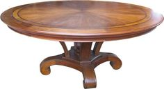 Round Mahogany Dining Table with Inlay, Superbly made Regency manner 6 foot diameter mahogany dining table to seat ten people with beautifully figured solid mahogany cross banded top with brass inlay upon a platform base with lions paw feet. http://www.tablepanache.co.uk