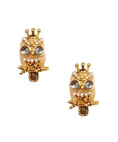 cute owl earrings from betsey johnson reminds me of an owl-loving friend of mine...
