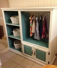Add Extra Storage in Your Kids Room by Converting an Old Entertainment Centre Into a DIY Kids Armoire