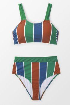 09c0d040aa1b6 #EnvyWe #CupShe Womens - CUPSHE Sporty Stripe High-waisted Bikini - EnvyWe.