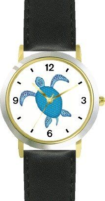 Blue Sea Turtle or Tortoise with Fancy Shell Design - JP - WATCHBUDDY DELUXE TWO-TONE THEME WATCH - Arabic Numbers... - List price: $79.95 Price: $49.95 Saving: $30.00 (38%)