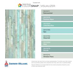 I found these colors with ColorSnap® Visualizer for iPhone by Sherwin-Williams:. Aqua Paint Colors, Coastal Paint Colors, Spa Colors, Interior Paint Colors, Paint Colors For Home, House Colors, Interior Design Magazine, Beach Condo, Beach House Decor