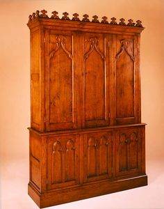 Gothic style wardrobe, solid oak, hand crafted and hand finished in England. Decorative medieval style detailing to the cornice and 6 doors. Oak Bedroom Furniture, Wardrobe Furniture, Antique Furniture, Castle Project, Corfe Castle, Medieval Furniture, Reproduction Furniture, Medieval Art, Solid Oak