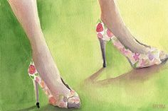 Featured Art - Flowered Shoes Fashion Illustration Art Print by Beverly Brown Prints