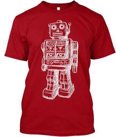 Hanes Tshirt Huge Robot T Shirt Deep Red T-Shirt Front