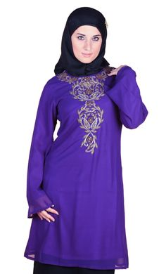 Exotic and simple at the same time this abaya is a recent modest offering form East Essence. Made from georgette fabric this purple abaya has a gorgeous embroidery pattern at the front which gives it a distinct identity.