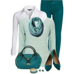 Mint Sweater and Scarf