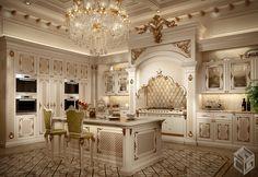 Classic kitchen, Milan, 2014 - Galileos - Home Design Inspiration Luxury Bedroom Design, Luxury Kitchen Design, Kitchen Room Design, Kitchen Cabinet Design, Luxury Interior Design, Home Decor Kitchen, Kitchen Dining, Kitchen Ideas, Fancy Kitchens