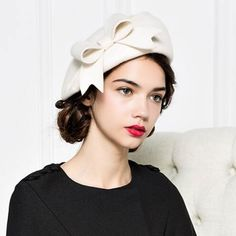 Elegant ladies bow beret hat for winter wool felt hats