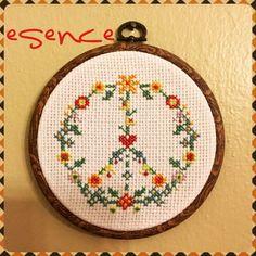 Esence etamin, kanaviçe, etamin pano, barış sembolü, barış sembollü etamin pano, peace, cross stitch