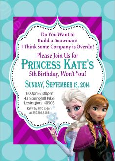 Personalized frozen movie ticket invitations only 199 do it disney frozen elsa anna printable birthday party invitation diy solutioingenieria