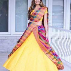 Fav saree + fav skirt combo ❤💗💙💚💛💜 #cancansaree #cancanbytia Ghagra Saree, Lehenga Style Saree, Lehenga Gown, Saree Dress, Beautiful Blouses, Beautiful Saree, Beautiful Dresses, Saree Draping Styles, Saree Styles