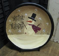 Top Hat Snowman Plate