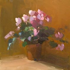 Cyclamen in Winter, Amy Brnger Purple Mums, Purple Roses, October Bouquet, Easy Flower Painting, Flower Paintings, Flower Vases, Flower Art, Roses Valentines Day, Sunflowers And Roses