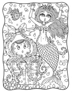 Christmas Instant Download Mermaid Adult Coloring Page Digi