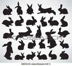 lapin, silhouettes Voir Clipart Grand Format