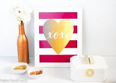 Red and white stripe gold foil heart art prints. They're free!