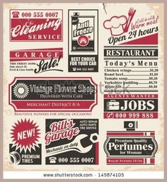 Retro Newspaper Ads Design Template Vector Collection Of Vintage Advertisements Old Paper Texture Layout With Promot Ad Design Newspaper Design Design Template
