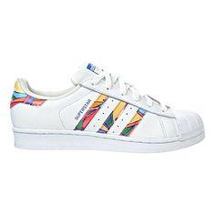 adidas Originals Women's Superstar W Fashion Sneaker, White/White/Lab Blue, 7 M US