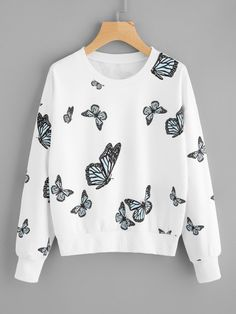 JAYCOSIN Butterfly Sweatshirts Women hoodies Fashions Long Sleeve O-neck Pullovers Tops Casual Sweatshirt 2017 moletom *. Girls Fashion Clothes, Teen Fashion Outfits, Urban Outfits, Style Fashion, Urban Apparel, Jugend Mode Outfits, Cute Casual Outfits, White Long Sleeve, Pull