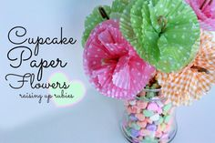 DIY cupcake paper flowers ... ♥ these would be soooo cute and cheap for graduation party table centerpieces!!!