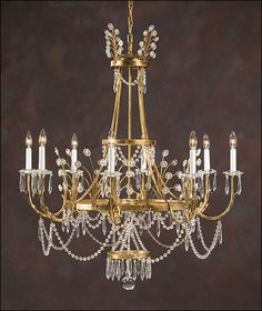 Eight light crystal chandelier on an antiqued gilded hand-wrought iron frame. Details on our website: DecorativeCrafts.com #decorativecrafts #decorative #lighting #lightfixture #chandelier #interiordesign #interiordecor #interior #lightfixtures #chandeliers #ceiling #homedesign #roomdesign #officedesign #elegant #chic #lavish #luxury #luxurious #crystal