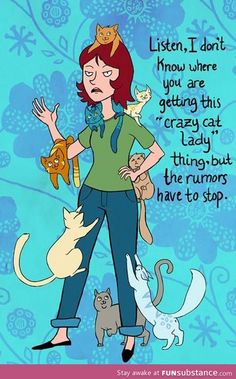 Crazy cat lady. I don't see a problem here. @Diane Haan Lohmeyer Smith hahhahahahhahaha